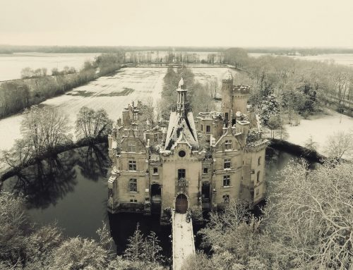 Chateau de la Mothe Chandeniers in the snow